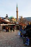 Het leven op de straat van oud district van Sarajevo, bosnia Stock Foto