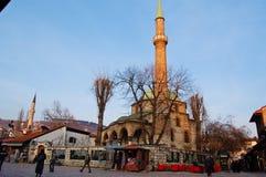 Het leven op de straat van oud district van Sarajevo, bosnia Stock Afbeelding