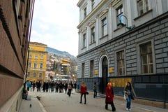 Het leven op de straat van Sarajevo, bosnia Stock Afbeelding