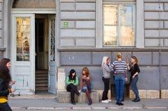 Het leven op de straat van Sarajevo, bosnia Stock Foto