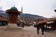 Het leven op de straat van Sarajevo, bosnia Stock Afbeeldingen
