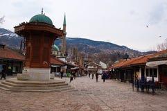Het leven op de straat van Sarajevo, bosnia Royalty-vrije Stock Foto's
