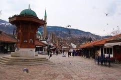 Het leven op de straat van Sarajevo, bosnia Royalty-vrije Stock Afbeelding