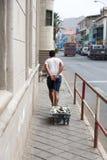 Het leven op de straten van Mindelo De markt van vissen in Hongkong Stock Foto