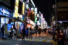 Het leven van de Gangnamstraat in Seoel Stock Foto