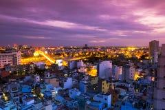 Het leven van de het panoramanacht van Vietnam Saigon Royalty-vrije Stock Foto