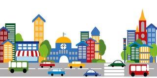 Het leven van de stad, straten, gebouwen, auto's Stock Afbeeldingen