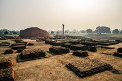 Het leven van India: Pijlers van Ashoka in Vaishali Stock Afbeelding