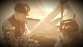Het leven voor Burgeroorlogmilitair in een kamp (de Versie van de Archieflengte) stock footage