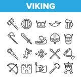 Het Levens Actieve Rust van Vikingen Vector Dunne Geplaatste Lijnpictogrammen vector illustratie