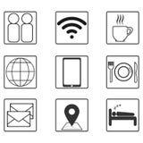 Het levenspictogrammen in vlakke zwart-wit worden geplaatst die vector illustratie