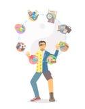Het levenssaldo het jongleren met op witte achtergrond Stock Afbeelding