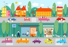 Het levensscène van de stad met bushalte Stock Afbeelding