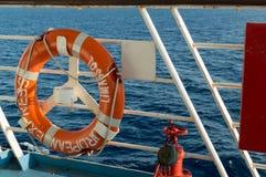 Het levensspaarder op een veerboot op de Middellandse Zee Stock Foto