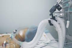 Het levenssteun van de patiënt Foto met ruimte voor tekst stock foto's