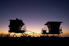 Het levenswacht Towers Silhouette stock foto