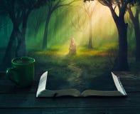 Het lezen in het bos royalty-vrije stock afbeeldingen