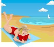 Het lezen op strand vector illustratie