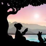 Het lezen van een boek onder een boom, Vectorillustraties Stock Foto