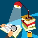 Het lezen van een boekillustratie Stock Afbeelding