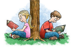 Het lezen van jonge geitjes Royalty-vrije Stock Afbeelding