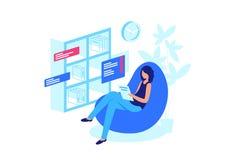 Het lezen van online boek, verlaten van document boeken royalty-vrije illustratie