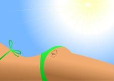 Het lichaam dat van meisjes sunbath neemt Stock Afbeelding