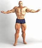 Het Lichaamsbouwer Pose van de spiermens Stock Afbeelding