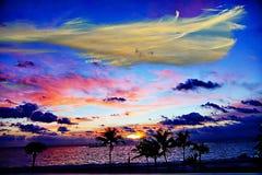 Het Licht en dark van zonsopgangkleuren komen uit de Nieuwe Zon van het Strand Zuid- van Florida Royalty-vrije Stock Fotografie