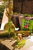Het licht en de vaas van de tuin stock foto