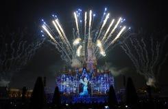 Het licht en het vuurwerk tonen in Shanghai disneyland royalty-vrije stock fotografie