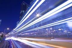 Het licht sleept in de weg van Hongkong bij nacht Royalty-vrije Stock Afbeelding