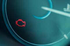 Het licht van de controlemotor op dashboard Royalty-vrije Stock Afbeelding