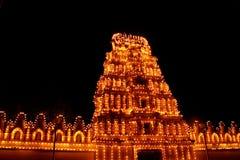 Het licht van de het paleistempel van Mysore toont royalty-vrije stock afbeelding