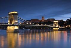 Het licht van de nacht in Boedapest. 4. Stock Foto