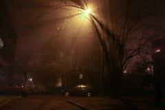 Het licht van de nachtlantaarn op de straat royalty-vrije stock afbeelding