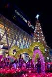 Het licht van de nieuwjaardecoratie, Bangkok, Thailand Stock Fotografie