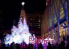 Het licht van de nieuwjaardecoratie, Bangkok, Thailand Royalty-vrije Stock Foto's