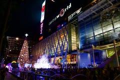 Het licht van de nieuwjaardecoratie, Bangkok, Thailand Stock Foto's