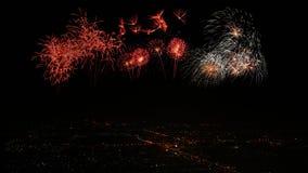 Het Licht van de stadsnacht met Vuurwerk Stock Fotografie