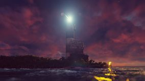 Het licht van de vuurtoren roteert over de kust bij zonsondergang het 3d teruggeven vector illustratie