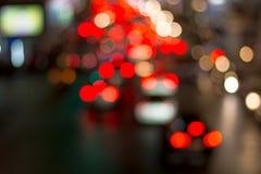 Het licht van de wegnacht bokeh, defocused onduidelijk beeldachtergrond Stock Afbeeldingen
