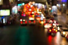 Het licht van de wegnacht bokeh, defocused onduidelijk beeldachtergrond Royalty-vrije Stock Foto's