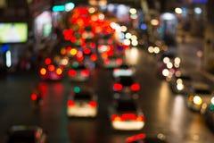 Het licht van de wegnacht bokeh, defocused onduidelijk beeldachtergrond Stock Foto