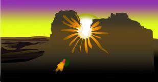 Het licht van de zon bij zonsondergang maakt zijn manier door de bergketen Het zonlicht leidt tot een bezinning van het zonnige k stock illustratie