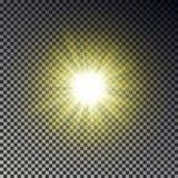 Het licht van de zonstraal op geruite achtergrond wordt geïsoleerd die Transparant de hemeleffect van het gloed geel zonlicht rea royalty-vrije illustratie