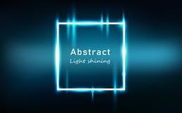 Het lichte abstracte gloeiende effect neon regelt kaderbanner, van de rechthoek heldere glanzende technologie vectorillustratie a royalty-vrije illustratie