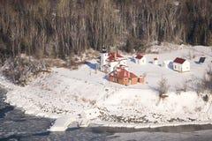 Het lichte huis van het Eiland van de framboos in de winter Royalty-vrije Stock Afbeeldingen