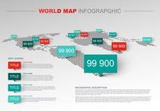 Het lichte infographic malplaatje van de Wereldkaart Stock Afbeeldingen