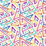 Het lichte kleurrijke naadloze patroon van schetsdriehoeken stock illustratie